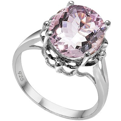 SPARKLING 10.00 CT GRAND ROSE DE FRANCE AMETHYST PURE 0.925 STERLING SILVER W/ PLATINUM RING