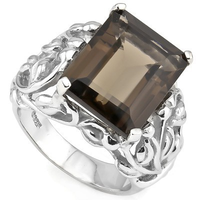 PRETTY 10.34 CARAT SMOKEY TOPAZ PLATINUM OVER 0.925 STERLING SILVER RING