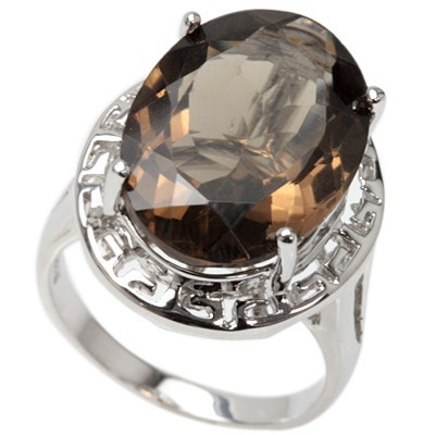 MONSTER 12.00 CT SMOKEY TOPAZ 0.925 STERLING SILVER W/ PLATINUM RING