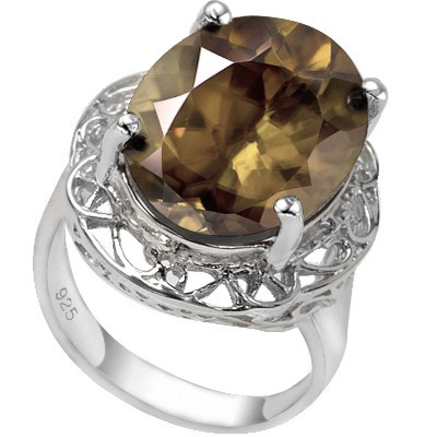GRAND 12.00 CT SMOKEY TOPAZ 0.925 STERLING SILVER W/ PLATINUM RING