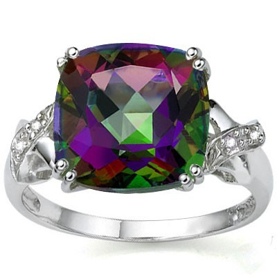 COLORFUL 6.45 CT MYSTIC GEMSTONE WITH DOUBLE DIAMOND 0.925 STERLING SILVER W/ PLATINUM RING