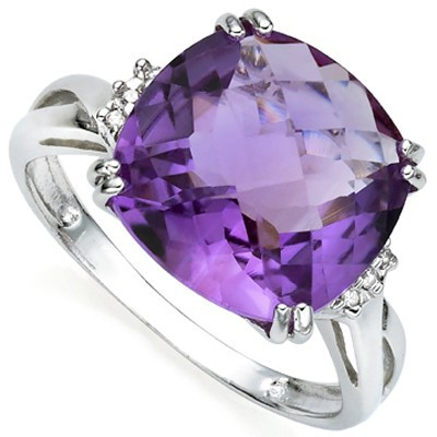 PRECIOUS 5 CT AMETHYST & DOUBLE WHITE DIAMOND 0.925 STERLING SILVER W/ PLATINUM RING