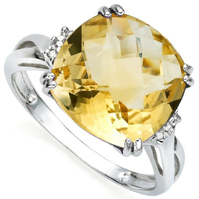 SPECTACULAR 6 CT CITRINE & DOUBLE WHITE DIAMOND 0.925 STERLING SILVER W/ PLATINUM RING