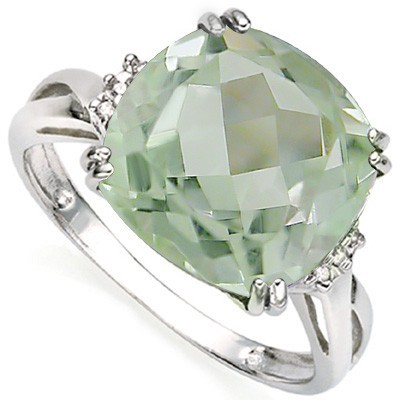 HEAVY 7 CT GREEN AMETHYST DOUBLE WHITE DIAMOND 0.925 STERLING SILVER W/ PLATINUM RING