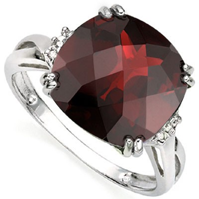 VIVACIOUS 7 CT RED GARNET DOUBLE WHITE DIAMOND 0.925 STERLING SILVER W/ PLATINUM RING