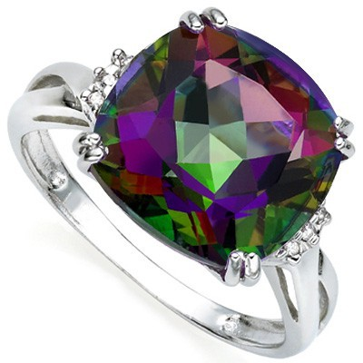 HUGE 6.80 CT MYSTIC GEMSTONE DOUBLE WHITE DIAMOND 0.925 STERLING SILVER W/ PLATINUM RING