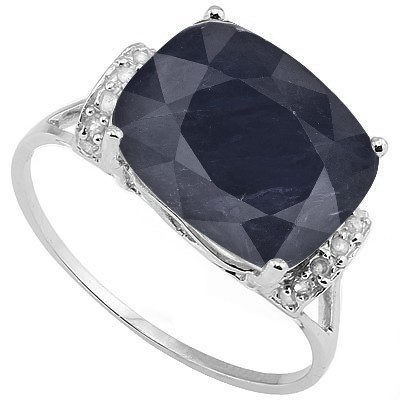 MESMERIZING 6.73 CT GENUINE SAPPHIRE & DOUBLE WHITE DIAMOND 0.925 STERLING SILVER W/ PLATINUM RING
