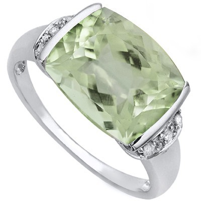 ENDEARING 4.49 CT GREEN AMETHYST DOUBLE WHITE DIAMOND 0.925 STERLING SILVER W/ PLATINUM RING