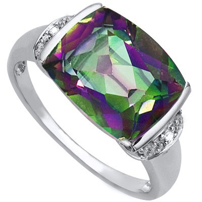 MAGICAL RAINBOW 5.15 CT MYSTIC GEMSTONE DOUBLE GENUINE DIAMONDS 0.925 STERLING SILVER W/ PLATINUM RING