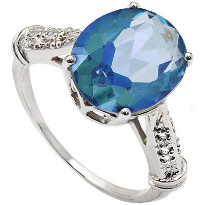 GLISTENING 3.98 CT BLUE MYSTIC TOPAZ DOUBLE WHITE DIAMOND 0.925 STERLING SILVER W/ PLATINUM RING