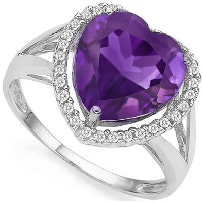 HEART LOVE! 2.87 CT AMETHYST DOUBLE WHITE DIAMOND 0.925 STERLING SILVER W/ PLATINUM RING