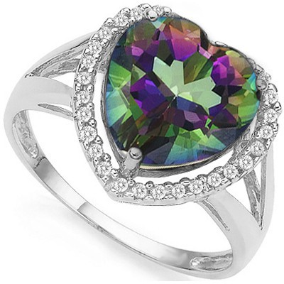 RAINBOW HEART! 2.96 CT MYSTIC GEMSTONE DOUBLE WHITE DIAMOND 0.925 STERLING SILVER W/ PLATINUM RING
