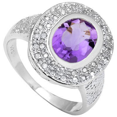 SMASHING 2.28 CT AMETHYST & 2 PCS WHITE DIAMOND 0.925 STERLING SILVER W/ PLATINUM RING