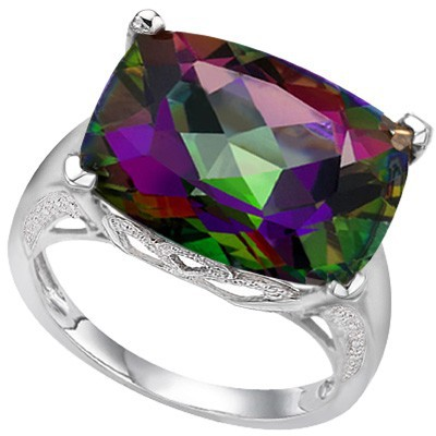 BREATHTAKING 9 CT MYSTIC GEMSTONE DOUBLE WHITE DIAMOND 0.925 STERLING SILVER W/ PLATINUM RING