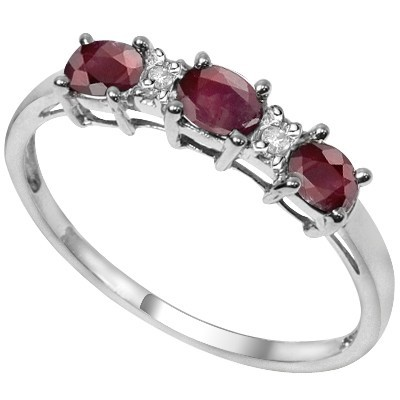 REFRESHING TRIPLE RARE GENUINE RUBY DOUBLE WHITE DIAMOND 0.925 STERLING SILVER W/ PLATINUM RING