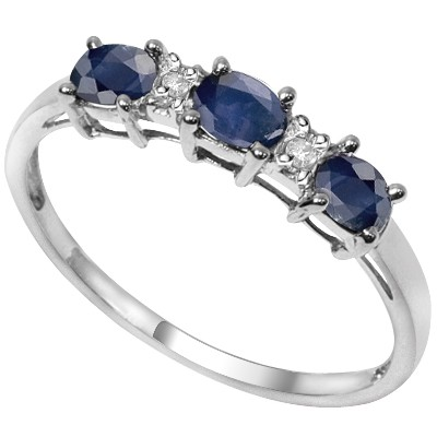 DISTINCTIVE TRIPLE GENUINE SAPPHIRE DOUBLE WHITE DIAMOND 0.925 STERLING SILVER W/ PLATINUM RING