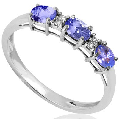 ENTHRALLING TRIPLE GENUINE TANZANITE DOUBLE GENUINE DIAMONDS 0.925 STERLING SILVER W/ PLATINUM RING