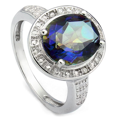 PRECIOUS 3.3 CARAT BLUE MYSTIC GEMSTONE & DOUBLE GENUINE DIAMONDS PLATINUM OVER 0.925 STERLING SILVER RING