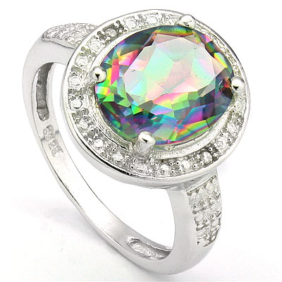 MAGNIFICENT 3.31 CARAT MYSTIC GEMSTONE & DOUBLE GENUINE DIAMONDS PLATINUM OVER 0.925 STERLING SILVER RING
