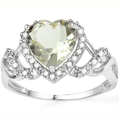 SPARKLING 1.53 CARAT GREEN AMETHYST WITH DOUBLE GENUINE DIAMONDS PLATINUM OVER 0.925 STERLING SILVER RING