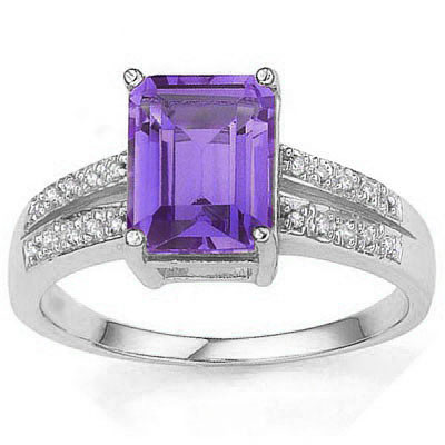 PRICELESS 2.20 CT AMETHYST WITH DOUBLE GENUINE DIAMONDS 0.925 STERLING SILVER W/ PLATINUM RING