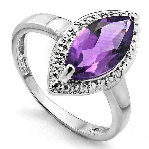 PRECIOUS 1.64 CARAT AMETHYST WITH GENUINE DIAMONDS PLATINUM OVER 0.925 STERLING SILVER RING
