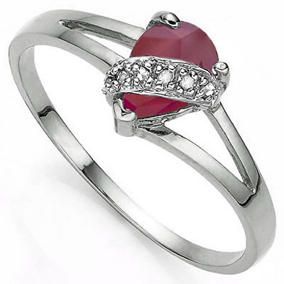 MARVELOUS 1.01 CARAT GENUINE RUBY WITH DOUBLE GENUINE DIAMONDS PLATINUM OVER 0.925 STERLING SILVER RING