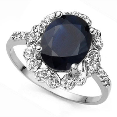 SPARKLING 3.00 CT GENUINE BLACK SAPPHIRE WITH DOUBLE GENUINE DIAMONDS 0.925 STERLING SILVER W/ PLATINUM RING