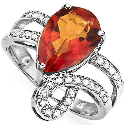 BEAUTIFUL 2.61 CARAT AZOTIC GEMSTONE WITH DOUBLE GENUINE DIAMONDS PLATINUM OVER 0.925 STERLING SILVER RING