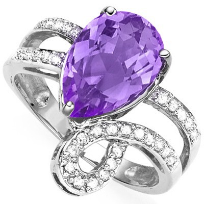 MARVELOUS 2.41 CARAT TW (3 PCS) AMETHYST & GENUINE DIAMOND PLATINUM OVER 0.925 STERLING SILVER RING