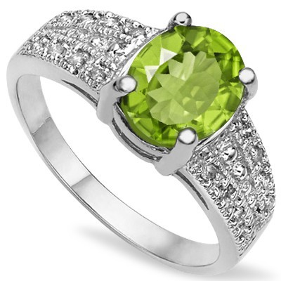 CLASSIC PERIDOT WITH DOUBLE DIAMOND 0.925 STERLING SILVER W/ PLATINUM RING