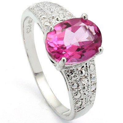 ROMANTIC MESMERIZING ROSY TOPAZ WITH DOUBLE WHITE DIAMOND 0.925 STERLING SILVER W/ PLATINUM RING