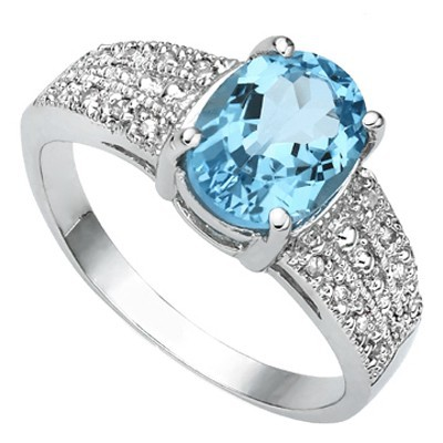 DAZZLING 2.40 CT BLUE TOPAZ WITH DOUBLE DIAMONDS 0.925 STERLING SILVER W/ PLATINUM RING