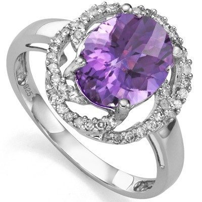 AWESOME 2.55 CT AMETHYST WITH DOUBLE GENUINE DIAMONDS 0.925 STERLING SILVER W/ PLATINUM RING