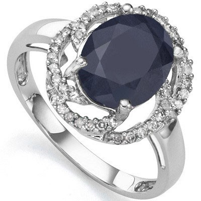 ASTONISHING 3.00 CT GENUINE BLACK SAPPHIRE WITH DOUBLE GENUINE DIAMONDS 0.925 STERLING SILVER W/ PLATINUM RING