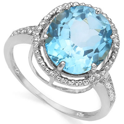 BEAUTIFUL 5.60 CT BLUE TOPAZ WITH DOUBLE GENUINE DIAMONDS 0.925 STERLING SILVER W/ PLATINUM RING