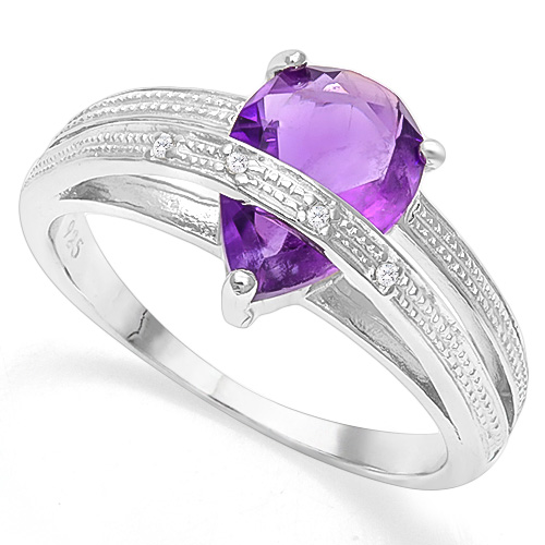 CAPTIVATING 1.50 CT AMETHYST & 4 PCS WHITE DIAMOND 0.925 STERLING SILVER W/ PLATINUM RING