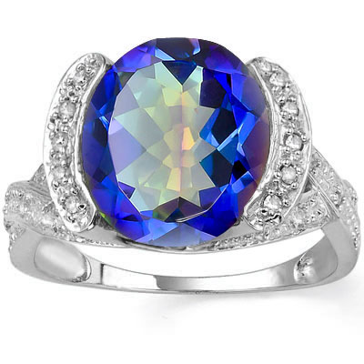 ALLURING 4.65 CARAT OCEAN MYSTIC GEMSTONE & DOUBLE GENUINE DIAMONDS PLATINUM OVER 0.925 STERLING SILVER RING