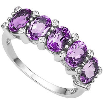 AMAZING 1.75 CT AMETHYST 0.925 STERLING SILVER W/ PLATINUM  RING