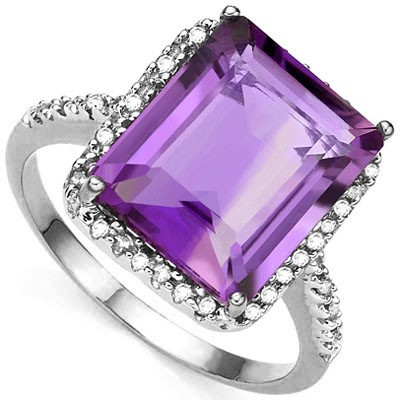 BRILLIANT 8.00 CT AMETHYST WITH DOUBLE GENUINE DIAMONDS 0.925 STERLING SILVER W/ PLATINUM RING
