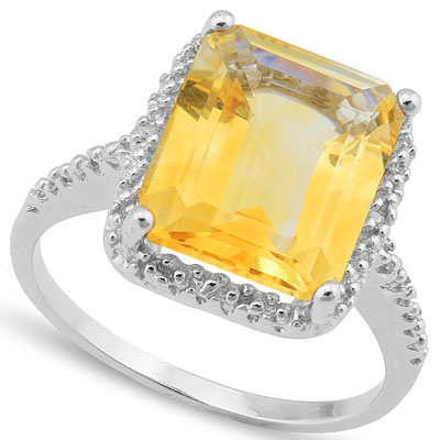 DAZZLING 5.212 CARAT TW (3 PCS) CITRINE & GENUINE DIAMOND PLATINUM OVER 0.925 STERLING SILVER RING