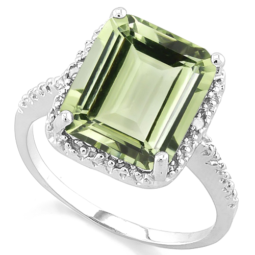 DAZZLING 6.06 CARAT TW (3 PCS) GREEN AMETHYST & GENUINE DIAMOND PLATINUM OVER 0.925 STERLING SILVER RING