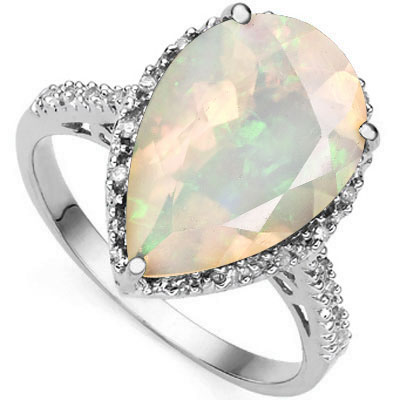 EXCLUSIVE 4.45 CARAT CREATED FIRE OPAL WITH DOUBLE GENUINE DIAMONDS PLATINUM OVER 0.925 STERLING SILVER RING