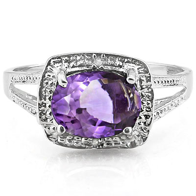 ALLURING 1.75 CARAT AMETHYST WITH DOUBLE GENUINE DIAMONDS PLATINUM OVER 0.925 STERLING SILVER RING