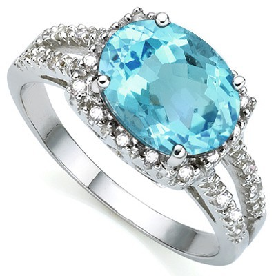 CAPTIVATING 2.17 CT BLUE TOPAZ WITH DOUBLE WHITE DIAMOND 0.925 STERLING SILVER W/ PLATINUM RING