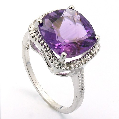PRICELESS 7.00 CT AMETHYST & 6 PCS WHITE DIAMOND PLATINUM OVER 0.925 STERLING SILVER RING