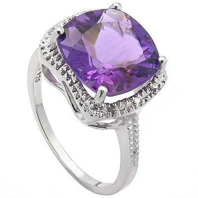 PRICELESS 7.00 CT AMETHYST & 6 PCS WHITE DIAMOND 0.925 STERLING SILVER W/ PLATINUM RING
