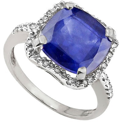 ELEGANT 8.00 CT ENHANCED SAPPHIRE SURROUNDED WITH 6 PCS WHITE DIAMOND 0.925 STERLING SILVER W/ PLATINUM RING