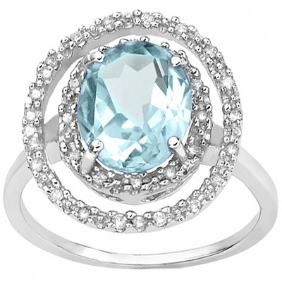 AWESOME 3.1 CARAT BLUE TOPAZ & DOUBLE GENUINE DIAMONDS PLATINUM OVER 0.925 STERLING SILVER RING