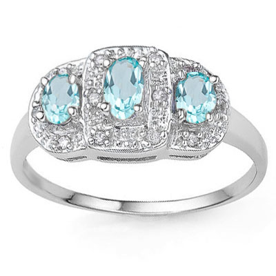CLASSY 0.6 CARAT TW BLUE TOPAZ WITH GENUINE DIAMONDS PLATINUM OVER 0.925 STERLING SILVER RING